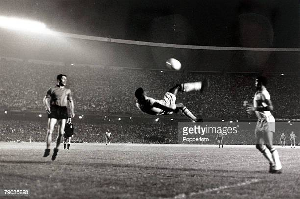 Sport Football Friendly International Maracana Stadium Rio de Janeiro 2nd June 1965 Brazil 5 v Belgium 0 Brazil's Pele makes an attempt on goal with...