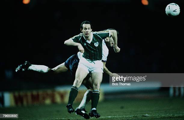 Sport Football Friendly International Wembley 26th March 1985 England 2 v Republic of Ireland 1 Ireland's Liam Brady is challenged by England's Bryan...