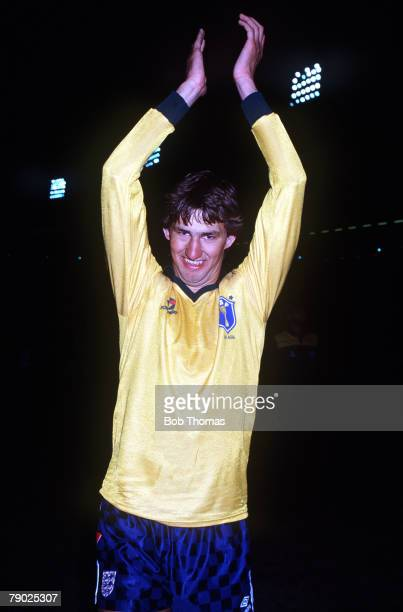Sport Football Friendly International Wembley London 19th May 1987 England 1 v Brazil 1 England defender Tony Adams salutes the crowd having swapped...