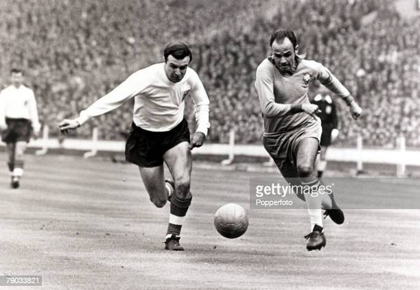 Sport Football Friendly International Wembley London 8th May 1963 England 1 v Brazil 1 England full back Jimmy Armfield in a race for the ball with...