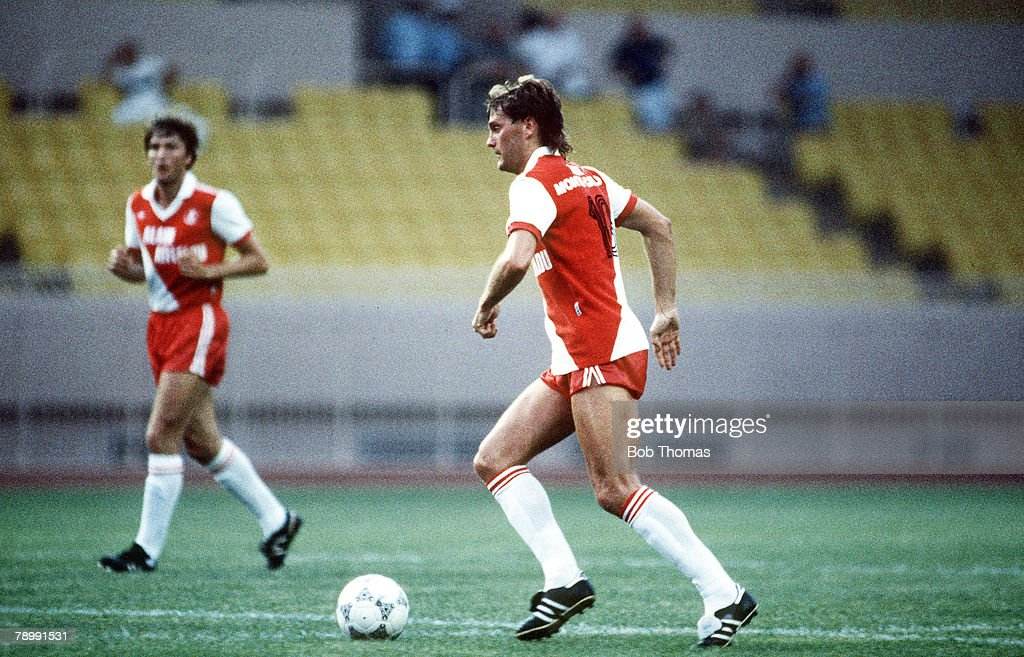 Sport. Football. Friendly Match. Monaco. pic: 4th July 1987. Friendly. Monaco 2. v Hadjuk Split 1. Glenn Hoddle, in his first appearance for the Monaco club. : News Photo