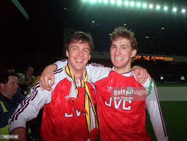 Sport Football Highbury England League Division One 6th May 1991 Arsenal 3 v Manchester United 1 Arsenal's David O'Leary and Tony Adams celebrate at...