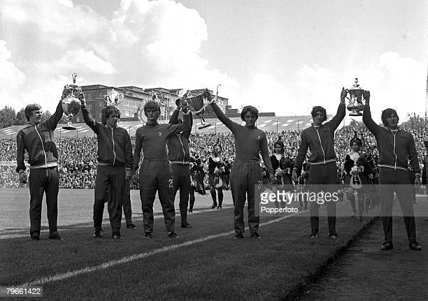 Sport Football Highbury London 14th August 1971 League Division One Arsenal v Chelsea Arsenal Junior players parade the First Division trophy as...