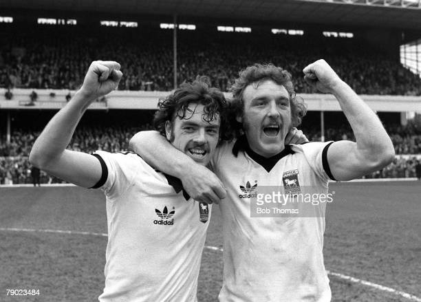 Sport Football Highbury London England 8th April 1978 FA Cup SemiFinal Ipswich Town 3 v West Bromwich Albion 1 John Wark and Kevin Beattie celebrate...