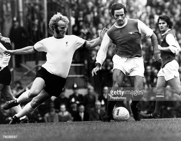 Sport Football Highbury London England League Division One 16th September 1972 Arsenal v Liverpool Arsenals George Graham holds off a challenge from...