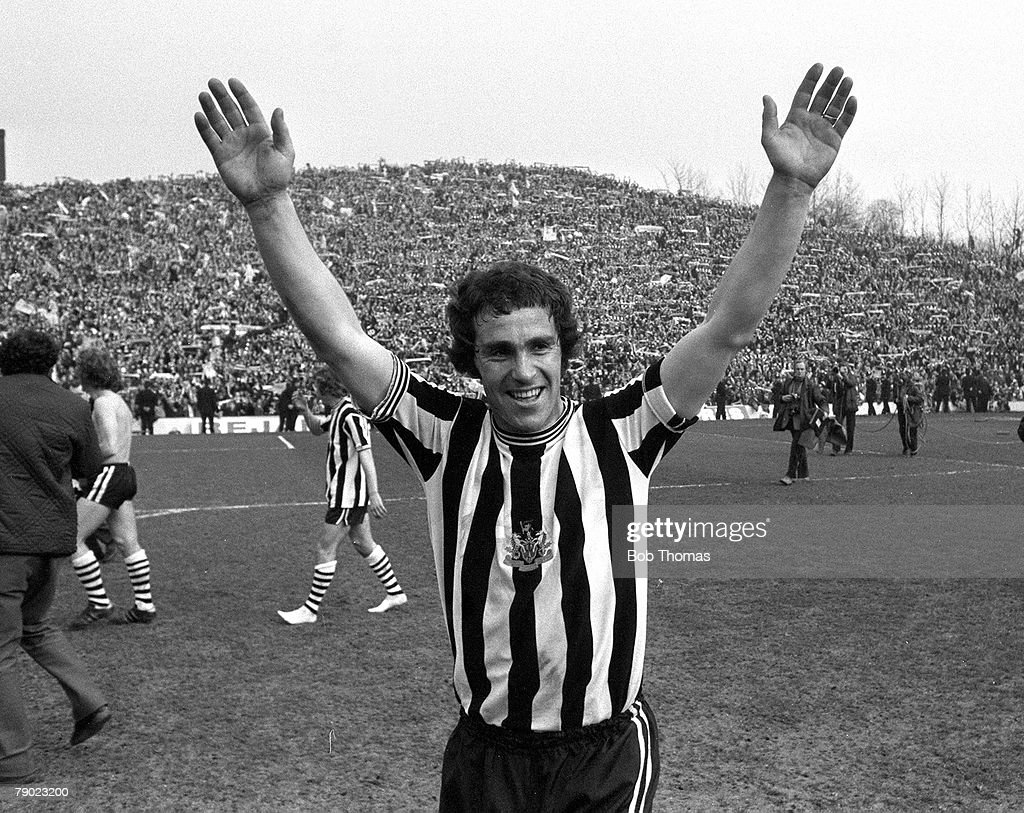 Sport. Football. Hillsborough, Sheffield, England. 21st March 1974. FA Cup Semi-Final. Newcastle United 2 v Burnley 0. Newcastle's Bobby Moncur celebrates at the final whistle. : News Photo