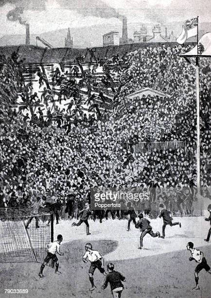 Sport, Football, Ibrox Park, Glasgow, 5th April 1902, Home International Match, Scotland 1 v England 1, This illustration shows part of the West...