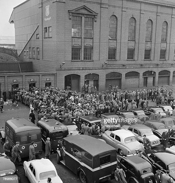 Sport Football Ibrox Stadium Glasgow Scotland Crowds of fans and spectators line up outside the gates before the start of the Rangers and Celtic...