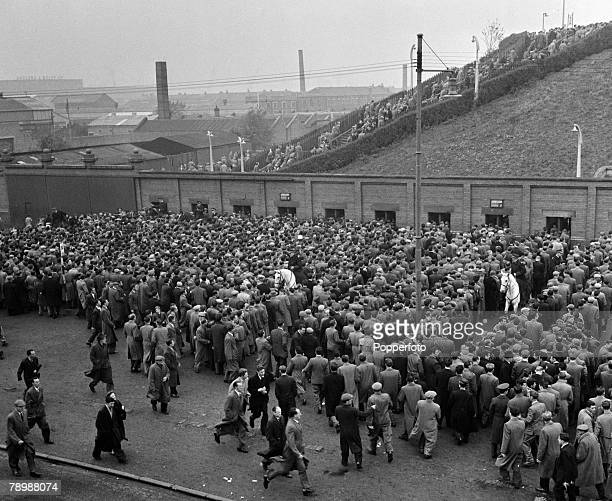 Sport Football Ibrox Stadium Glasgow Scotland Huge crowds of fans and spectators line up outside the gates before the start of the Rangers and Celtic...