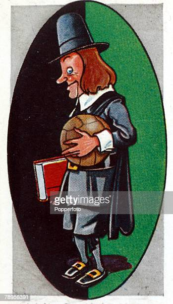 Sport Football Illustration Caricature/Nicknames pic circa 1930's Plymouth Argyle nicknamed the 'Pilgrims' formed so called because of the Pilgrim...