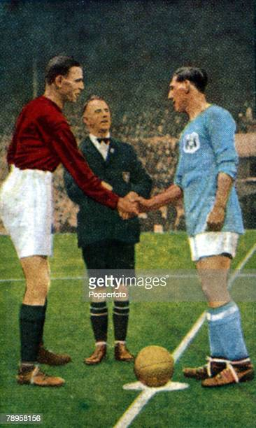 23rd April 1927 FA Cup Final at Wembley Cardiff City 1 v Arsenal 0 Arsenal captain Charles Buchan left greet his opposite number Cardiff City's Fred...