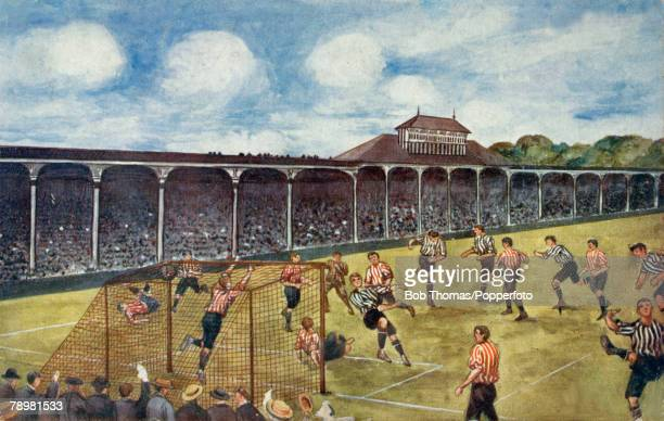 circa 1904 Newcastle United v Sunderland at StJames' Park A colour illustration showing Newcastle United scoring a goal against their local rivals