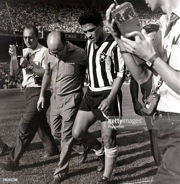 Sport Football in South America April 1964 Botafogo's Garrincha moves awkwardly after injuring himself in a club match He played 60 times for Brazil...