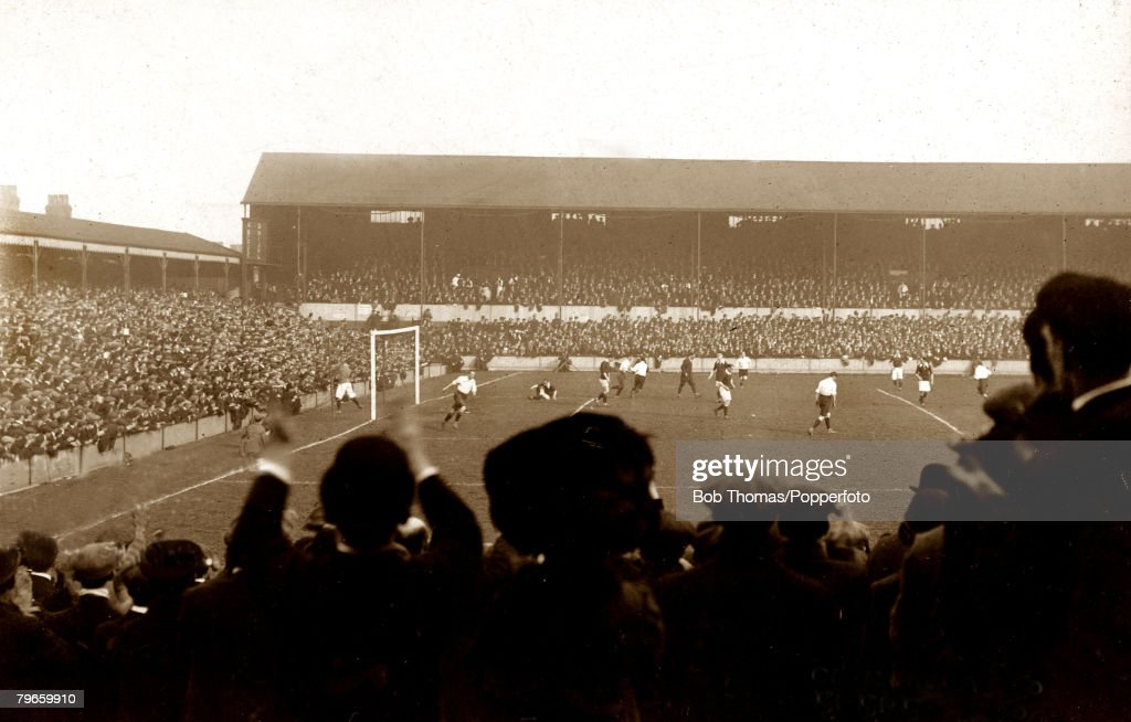 Sport, Football International, British Championship, Goodison Park, Liverpool, England, 1st April 1911, England 1 v Scotland 1, J,Stewart has scored the England goal in front of a large crowd : News Photo