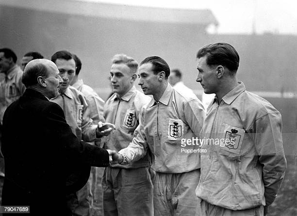 Sport Football International Match Wembley London England 19th January 1946 England 2 v Belgium 0 British Prime Minister Clement Attlee is introduced...