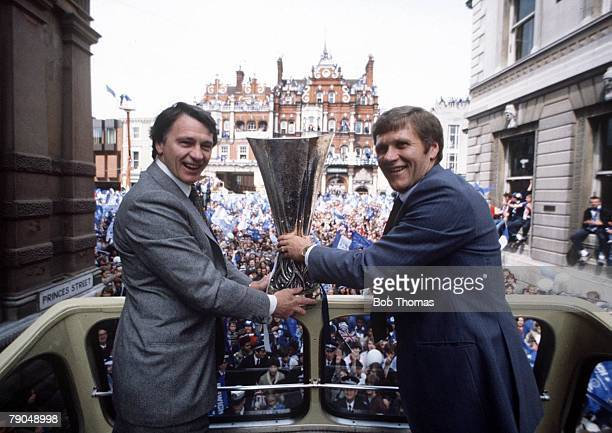 Sport Football Ipswich England UEFA Cup winners Ipswich Town parade through the town on an opentop bus with the trophy Shown here are manager Bobby...
