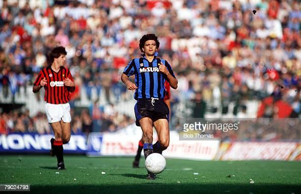 Sport Football Italian League Serie A San Siro Milan Italy 28th October 1984 AC Milan 2 v Inter Milan 1 Inter's Alessandro Altobelli