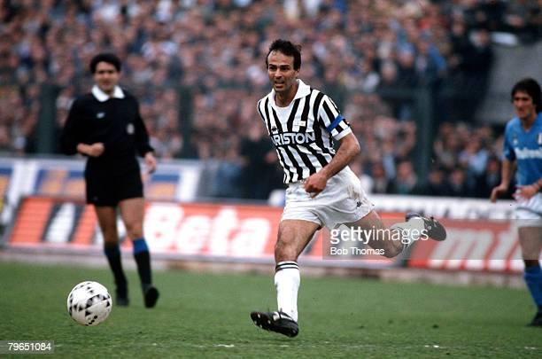Sport Football Italian League Serie A Turin Italy 17th April 1988 Juventus 3 v Napoli 1 Juventus captain Antonio Cabrini