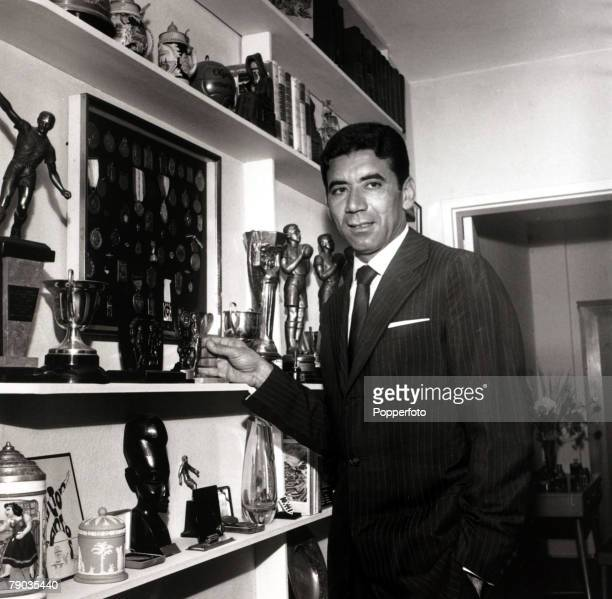 Sport Football January 1963 Brazilian international Nilton Santos stands alongside some of his medals and trophies accumulated in a long career He...