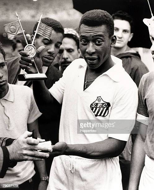 Sport Football January 1965 Brazil's Pele pictured in his Santos club strip receives another award Pele was probably the most famous player ever and...