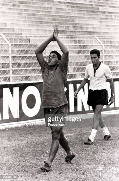 Sport Football January 1966 Brazil star Garrincha appearings to offering up a prayer as he is pictured at a training session He played 60 times for...