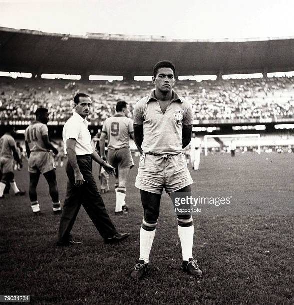 Sport Football July 1962 Brazil star Garrincha in the nations colours before a match He played 60 times for Brazil and with he and Pele in the team...
