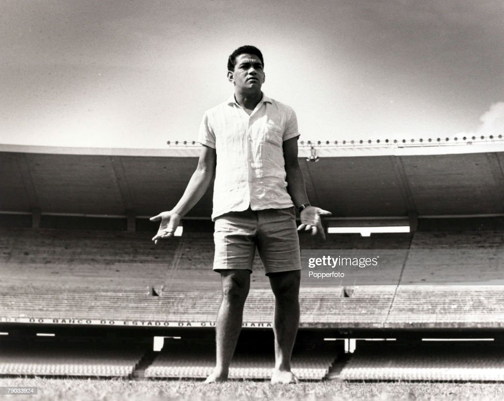 Sport. Football. July 1967. Brazil star Garrincha relaxing in the Maracana Stadium, Rio de Janeiro. He played 60 times for Brazil and with he and Pele in the team the national side never lost, his first international defeat occurred in his last game for B : News Photo