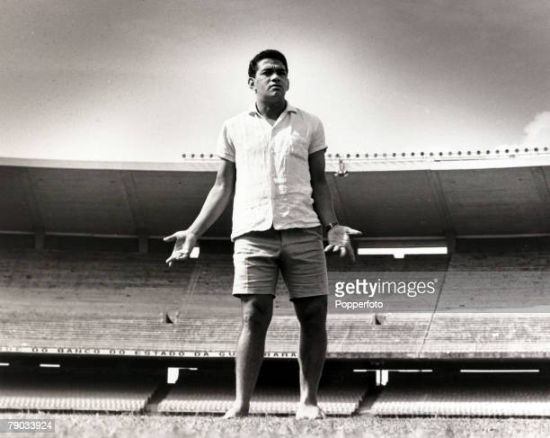 Sport Football July 1967 Brazil star Garrincha relaxing in the Maracana Stadium Rio de Janeiro He played 60 times for Brazil and with he and Pele in...