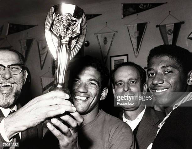 Sport Football June 1962 Brazil star Garrincha with the Jules Rimet World Cup trophy after Brazil's win in Chile in the 1962 tournament He played 60...