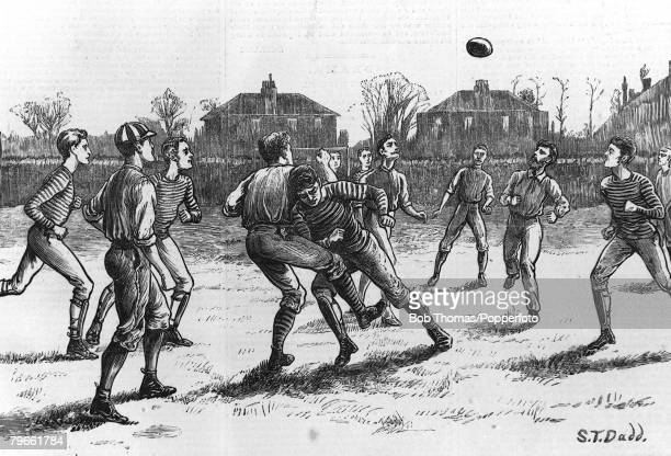Sport Football Kennington Oval Surrey London England English FA Cup Final Old Etonians 1 v Blackburn Rovers 0 An engraving from an illustration drawn...