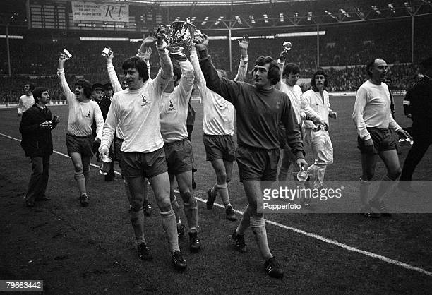 Sport Football League Cup Final Wembley England 27th February 1971 Tottenham Hotspur 2 v Aston Villa 0 Spurs' Cyril Knowles and goalkeeper Pat...