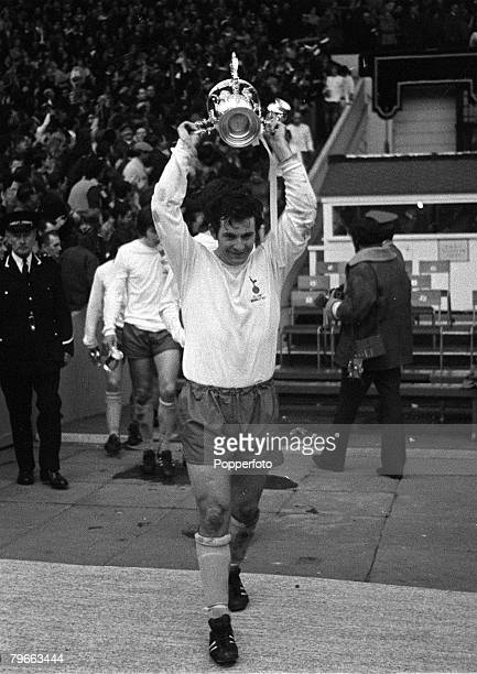 Sport Football League Cup Final Wembley England 27th February 1971 Tottenham Hotspur 2 v Aston Villa 0 Spurs' captain Alan Mullery proudly holds...