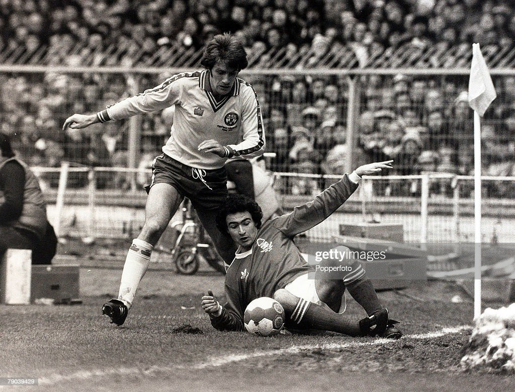 Sport. Football. League Cup Final. Wembley, London, England. 17th March 1979. Nottingham Forest 3 v Southampton 2. Nottingham Forest's Martin O'Neill on the ground as he tries to hold off Southampton's Nick Holmes who challenges. : News Photo
