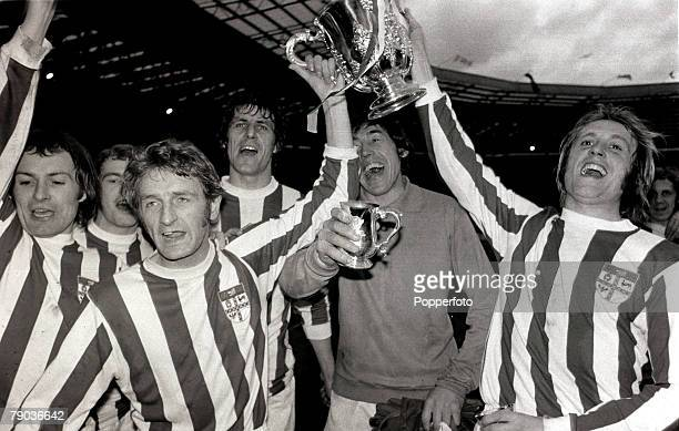 Sport Football League Cup Final Wembley London England 4th March 1972 Stoke City 2 v Chelsea 1 Stoke City players George Eastham and Jimmy Greenhoff...