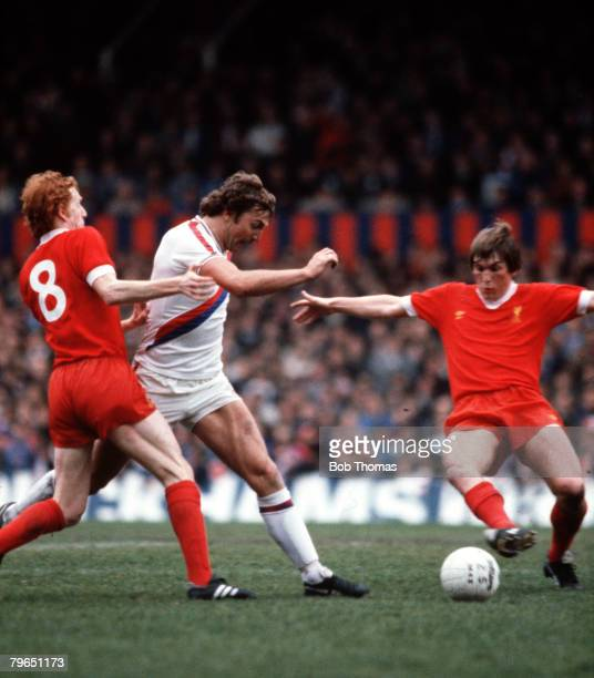 Sport Football League Division One 26th April 1980 Crystal Palace 0 v Liverpool 0 Crystal Palace's Jim Cannon is challenged by Liverpool's David...