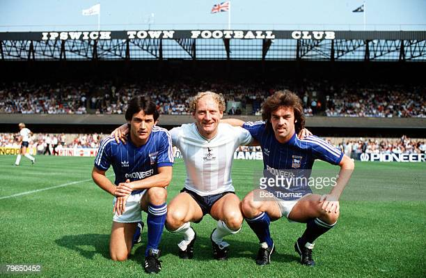 Sport Football League Division One 27th August 1983 Ipswich Town 3 v Tottenham Hotspur 1 Ipswich Town's George Burley and John Wark are pictured with...