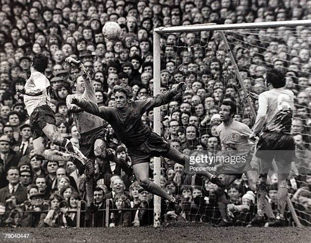 Sport Football League Division One Baseball Ground England 1st April 1972 Derby County v Leeds United Leeds United goalkeeper Gary Sprake comes out...