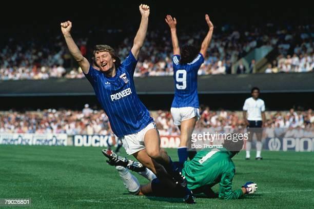 Sport Football League Division One Portman Road England 27th August 1983 Ipswich Town 3 v Tottenham Hotspur 1 Eric Gates celebrates after scoring...
