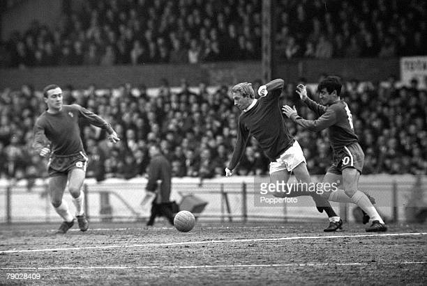 Sport Football League Division One Stamford Bridge London England 13th March 1966 Chelsea 2 v Manchester United 0 Manchester United's Denis Law...