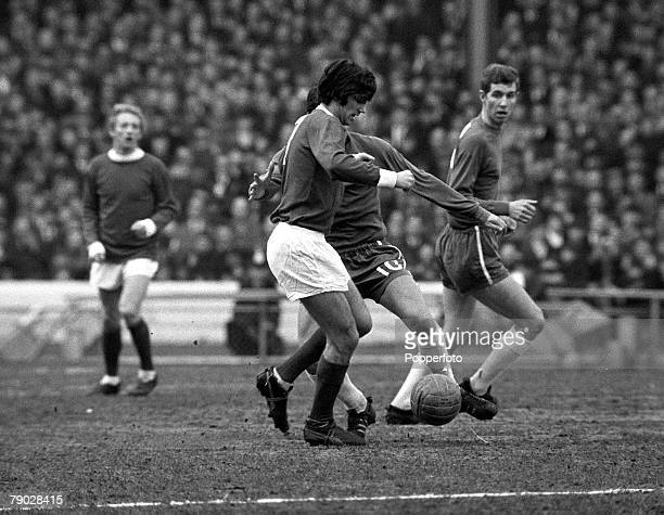 Sport Football League Division One Stamford Bridge London England 13th March 1966 Chelsea 2 v Manchester United 0 Manchester United's George Best is...