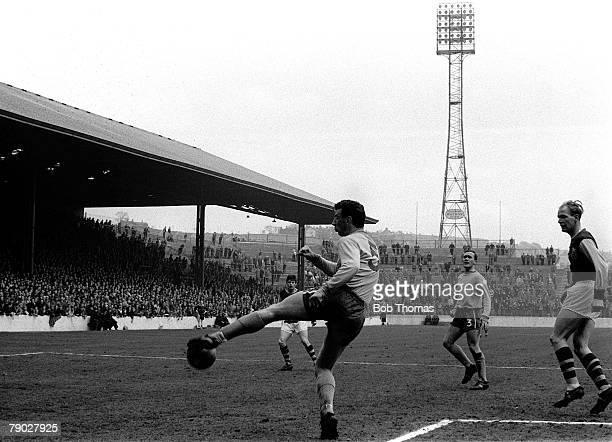 Sport Football League Division One Turf Moor England Circa 1965 Burnley v Chelsea Chelsea defender John Mortimore clears the ball