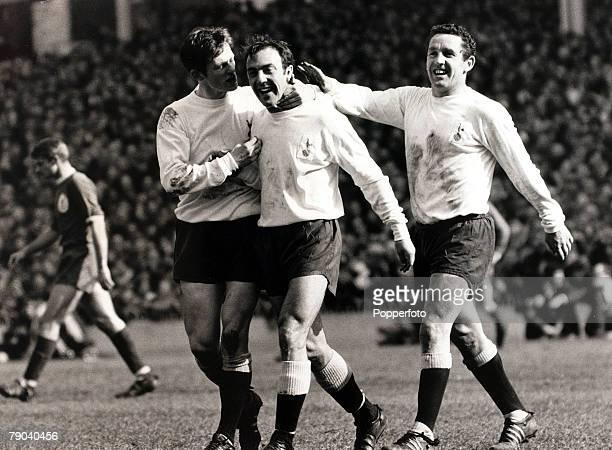 Sport, Football, League Division One, White Hart Lane, London, England, 1st April 1967, Tottenham Hotspur v Liverpool, Tottenham Hotspur trio Jimmy...