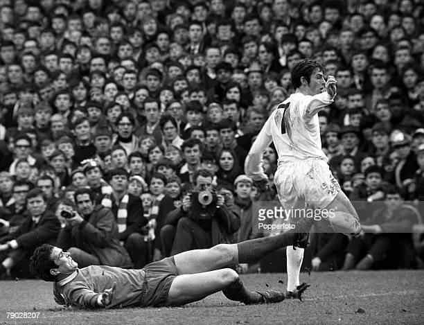 Sport Football League Division One White Hart Lane London England 9th March 1968 Tottenham Hotspur v Liverpool Liverpool captain Ron Yeats slides in...