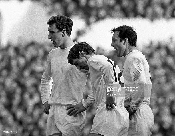 Sport Football League Division One White Hart Lane London England 9th March 1968 Tottenham Hotspur v Liverpool The Tottenham trio of LR Martin...