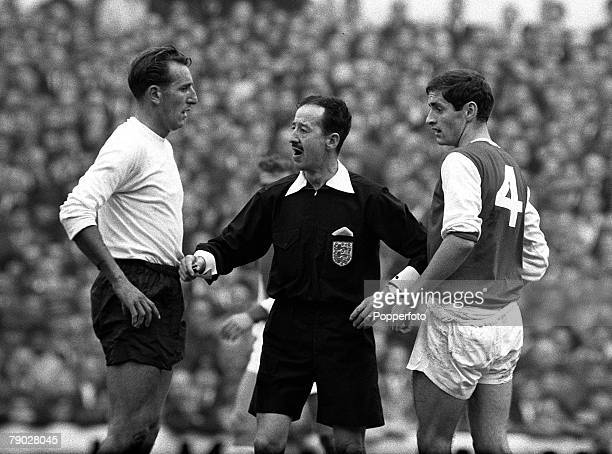 Sport Football League Division One White Hart Lane London England 12th October 1964 Tottenham Hotspur v Arsenal Referee ECrawford gets between...