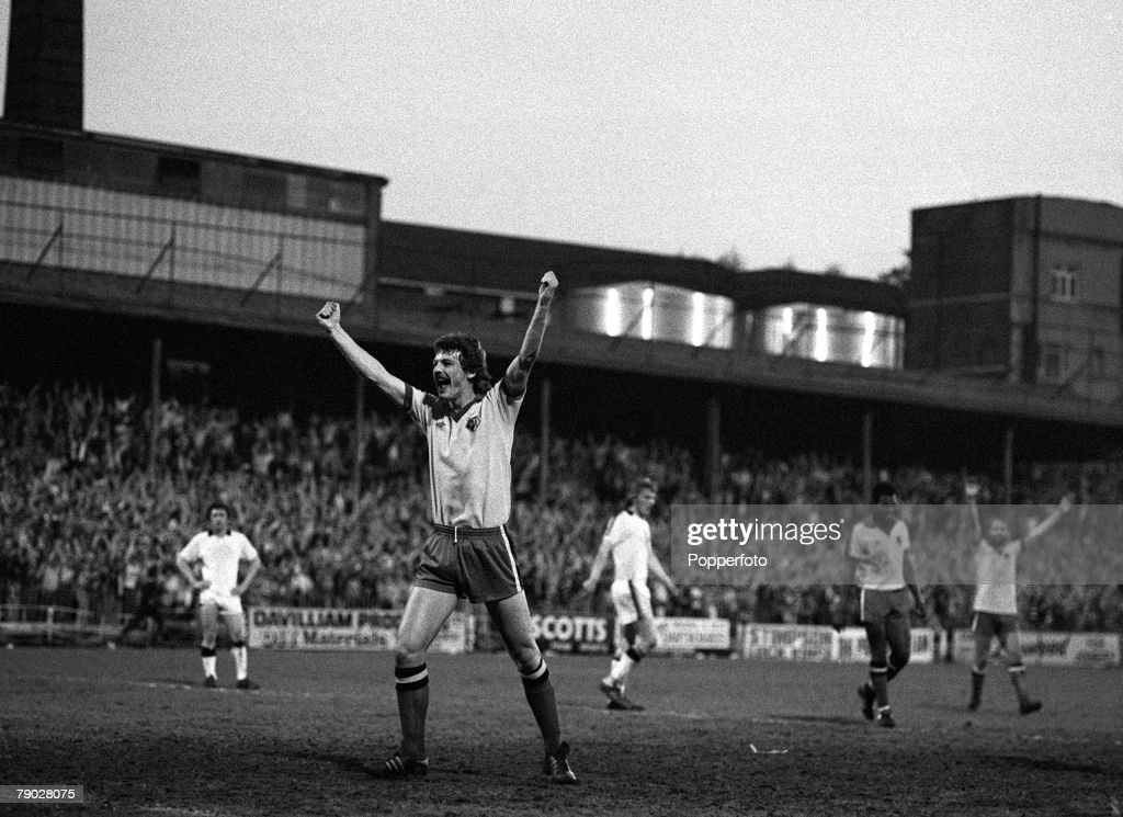 Sport. Football. League Division Three. Vicarage Road, England. 15th May 1979. Watford 4 v Hull City 0. Watford Promoted to Division Two. Watford's Ian Bolton celebrates after scoring the third goal. : News Photo