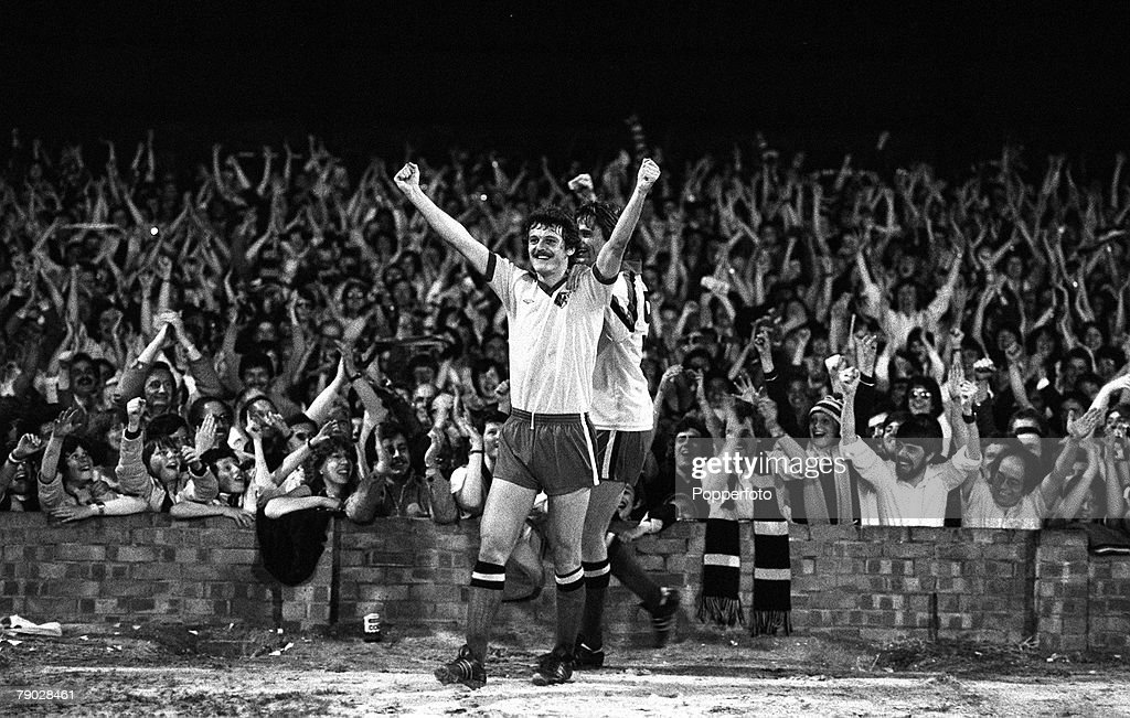 Sport. Football. League Division Three. Vicarage Road, England. 15th May 1979. Watford 4 v Hull City 0. Watford Promoted to Division Two. Watford's Ian Bolton celebrates after scoring a goal from the penalty spot, with team mate Ross Jenkins (partially hi : News Photo