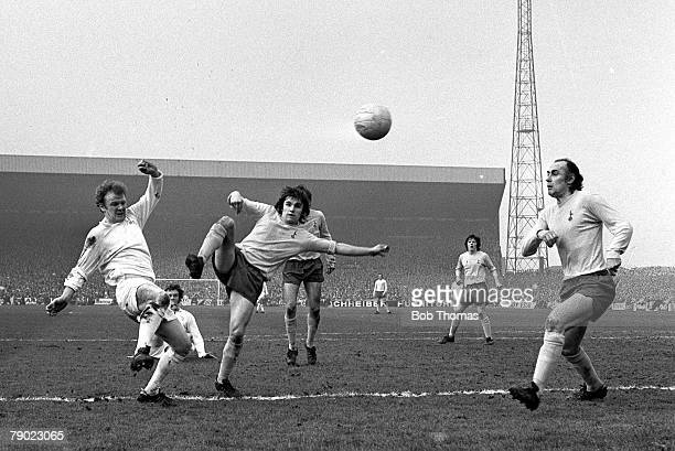 Sport Football Leeds England 18th March 1972 FA Cup Sixth Round Leeds United 2 v Tottenham Hotspur 1 Leeds United's Billy Bremner takes on...