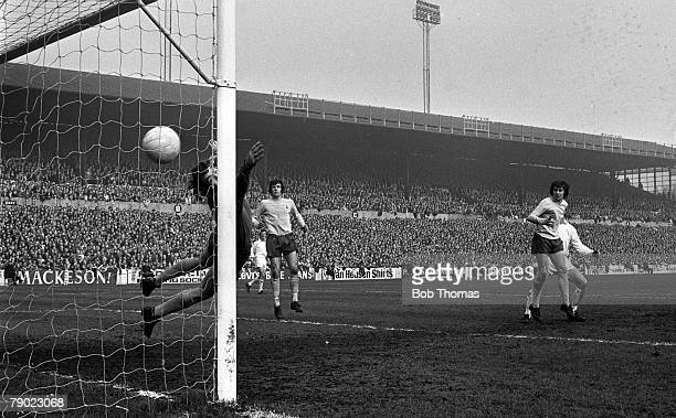 Sport Football Leeds England 18th March 1972 FA Cup Sixth Round Leeds United 2 v Tottenham Hotspur 1 Jack Charlton scores for Leeds past the diving...