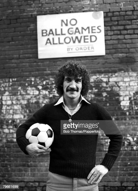 Sport Football Liverpool England Liverpool's Terry McDermott is pictured near to Anfield in front of a sign prohibiting the playing of ball games